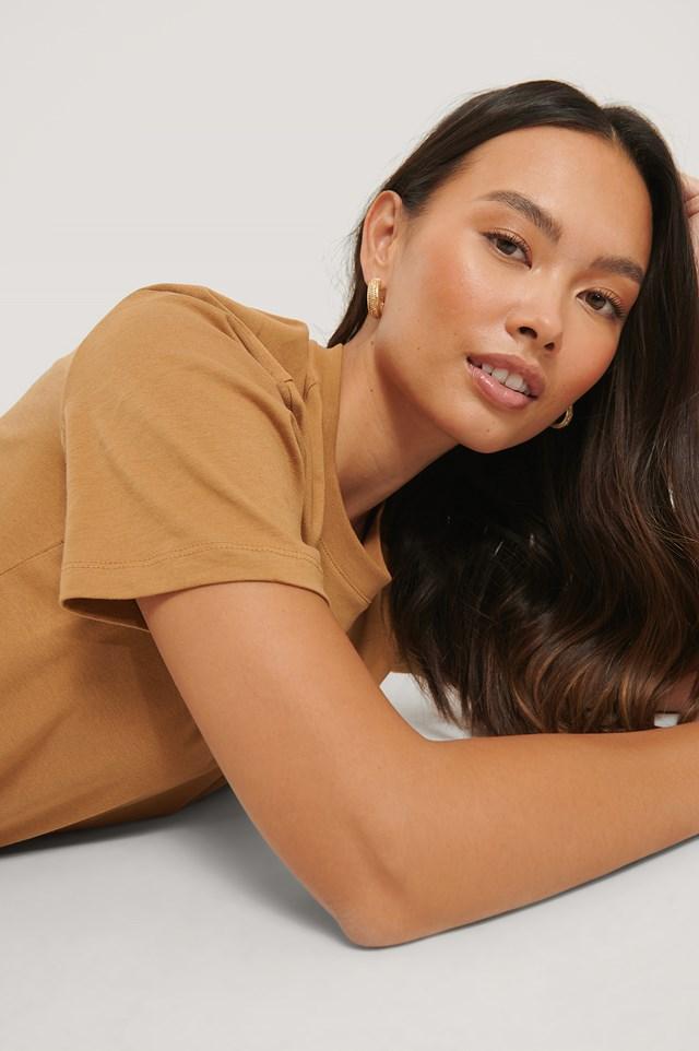 Tan Basic Cotton Roundneck T-shirt