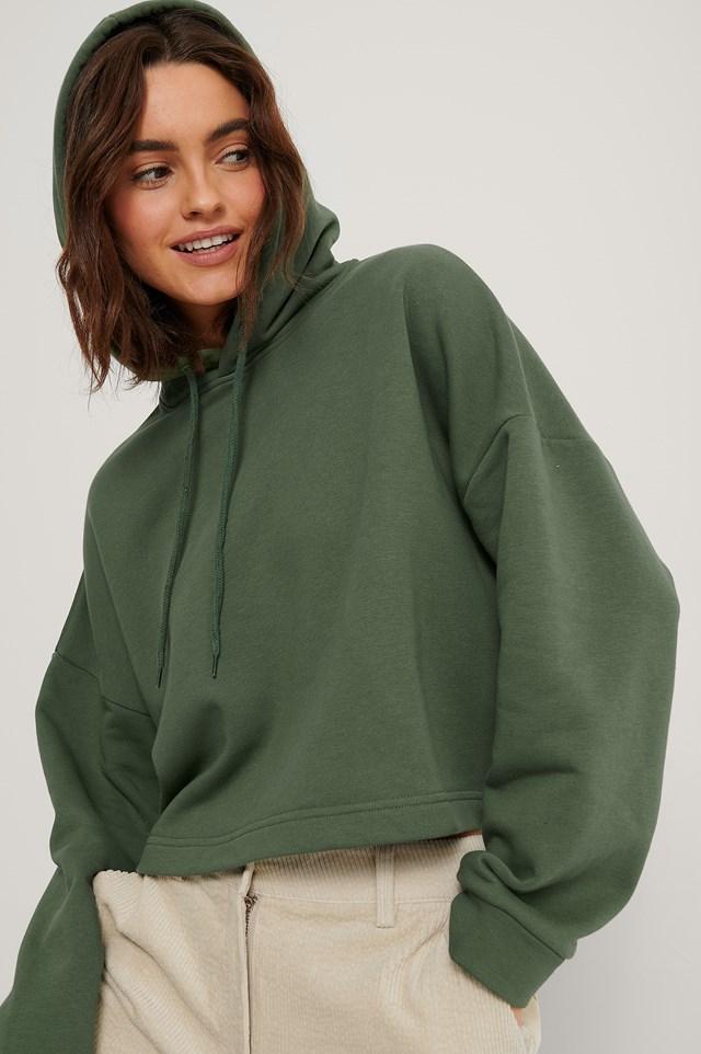 Basic Cropped Hoodie Dark Green