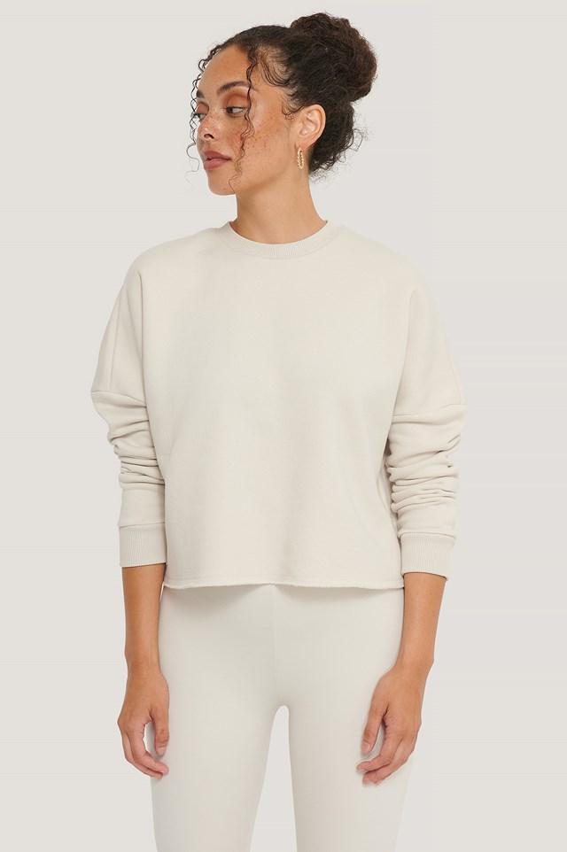 Organic Basic Cropped Sweater Dusty Light Beige