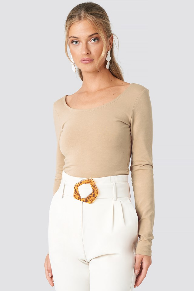 Basic Fitted LS Top Beige