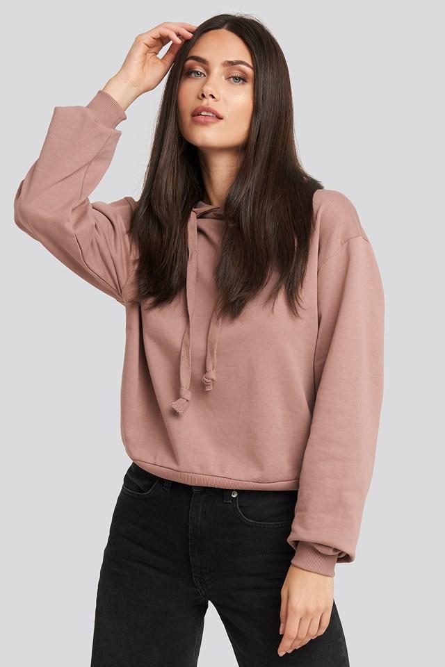 Prosta Bluza Z Kapturem Dusty Dark Pink