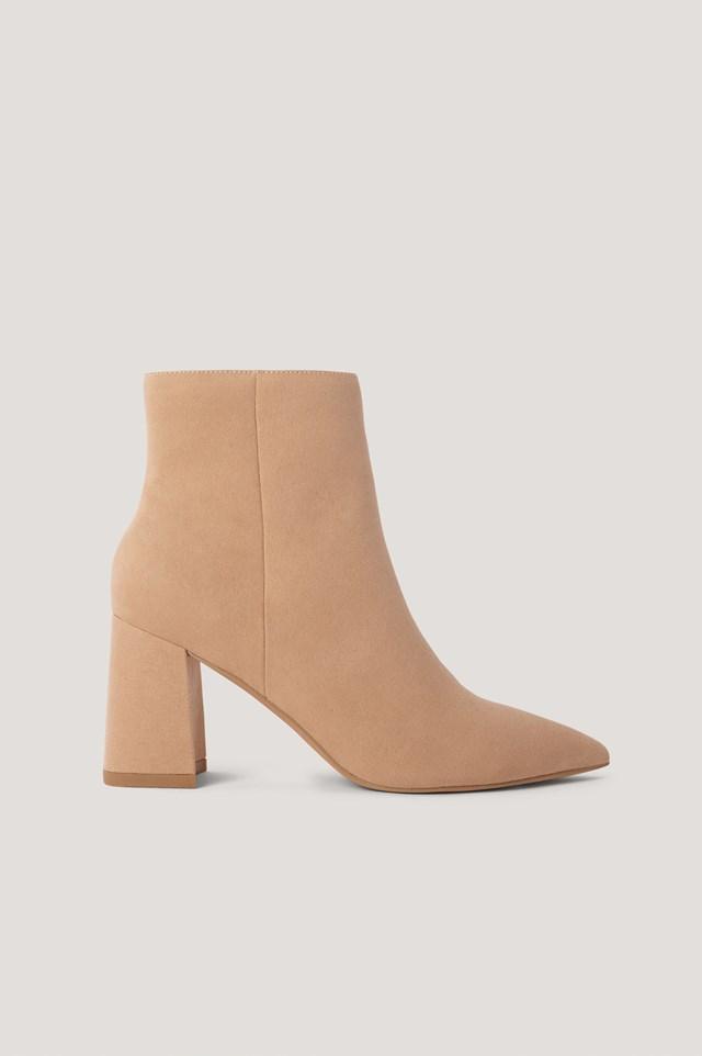 Beige Basic Slanted Heel Faux Suede Boots