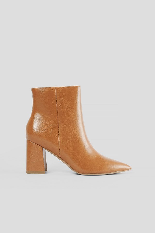 Brown Basic Structured Glossy Boots