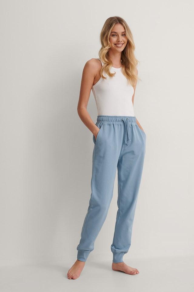 Faded Denim Basic Sweatpants