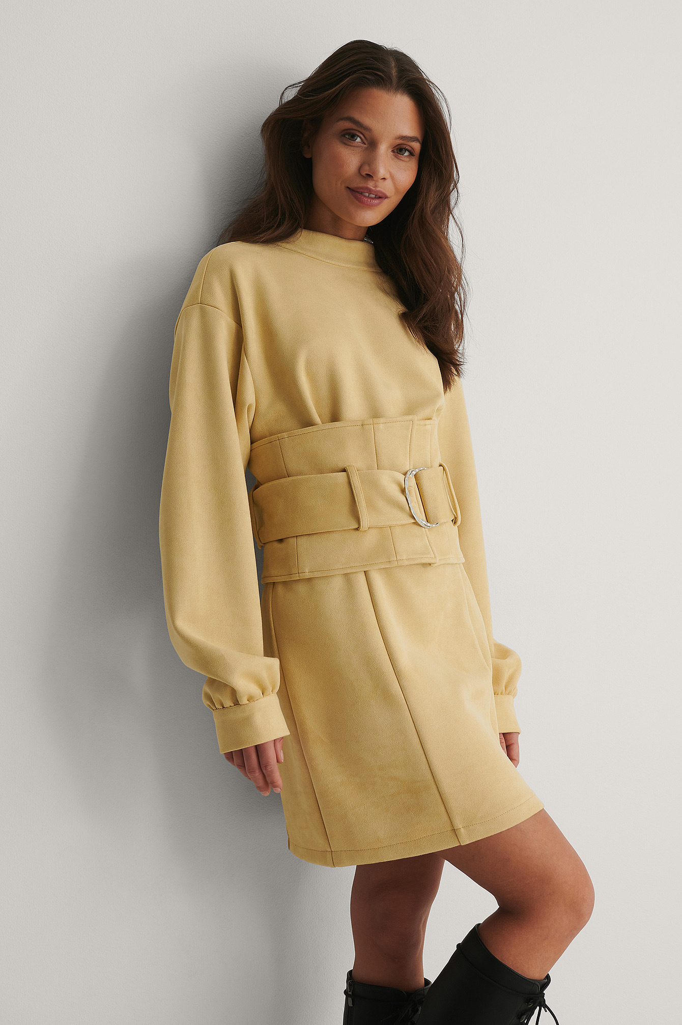 Beige Belt Detail Mini Dress