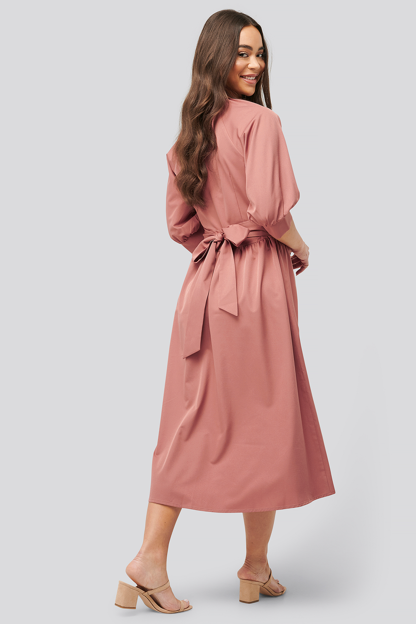 Dusty Pink Belted Balloon Sleeve Dress
