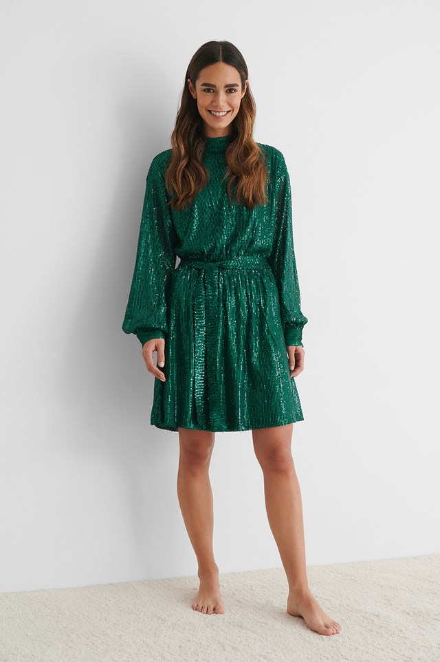 Green Belted Balloon Sleeve Sequin Dress