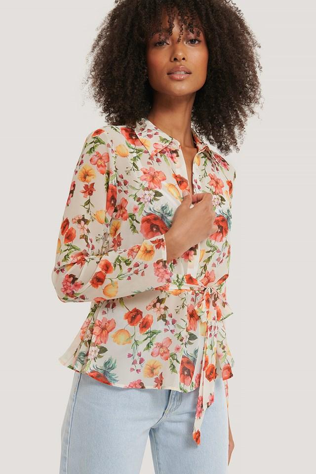 Belted Chiffon Blouse Flower Print