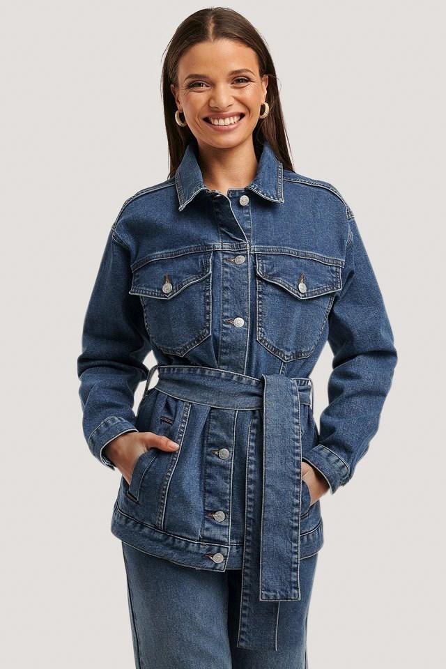Belted Denim Jacket Mid Blue
