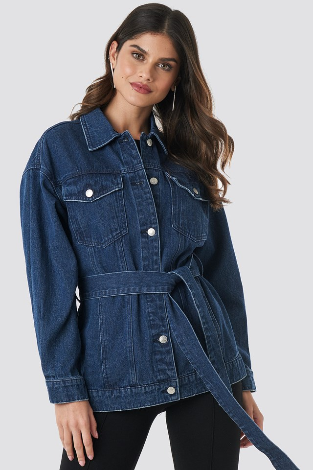 Belted Denim Jacket Mid Blue