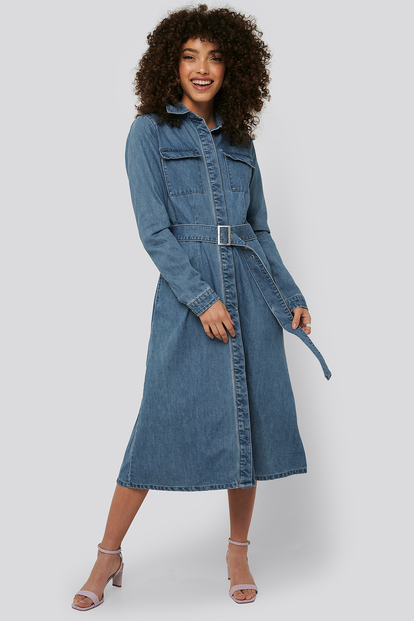 Mid Blue Belted Denim Shirt Dress