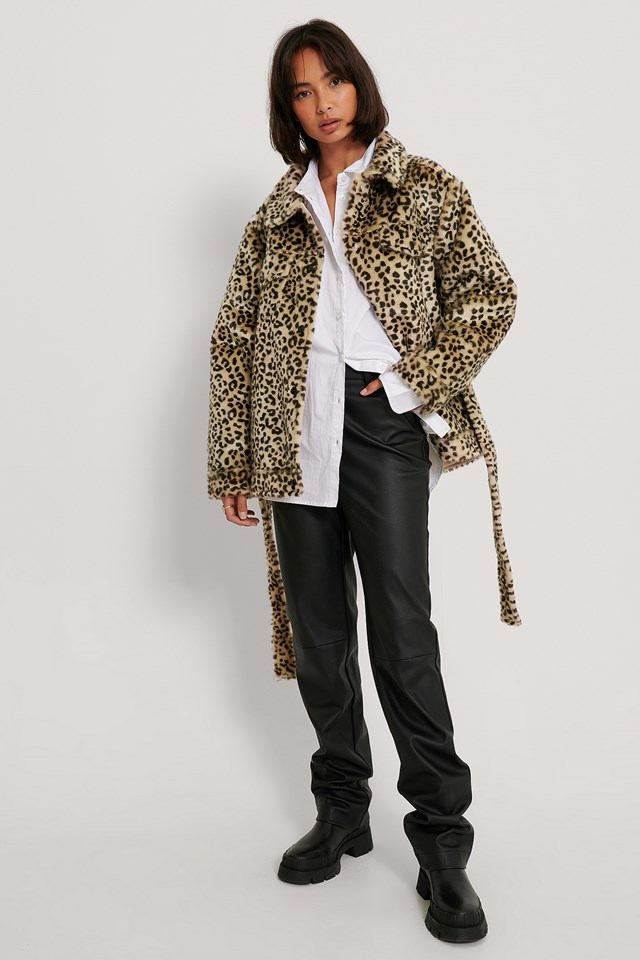 Belted Faux Fur Jacket White/Black