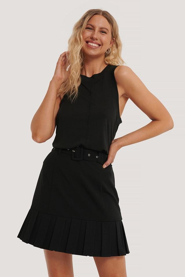 Black Belted Frill Mini Skirt