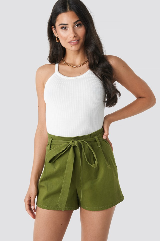 Khaki Belted High Waist Shorts