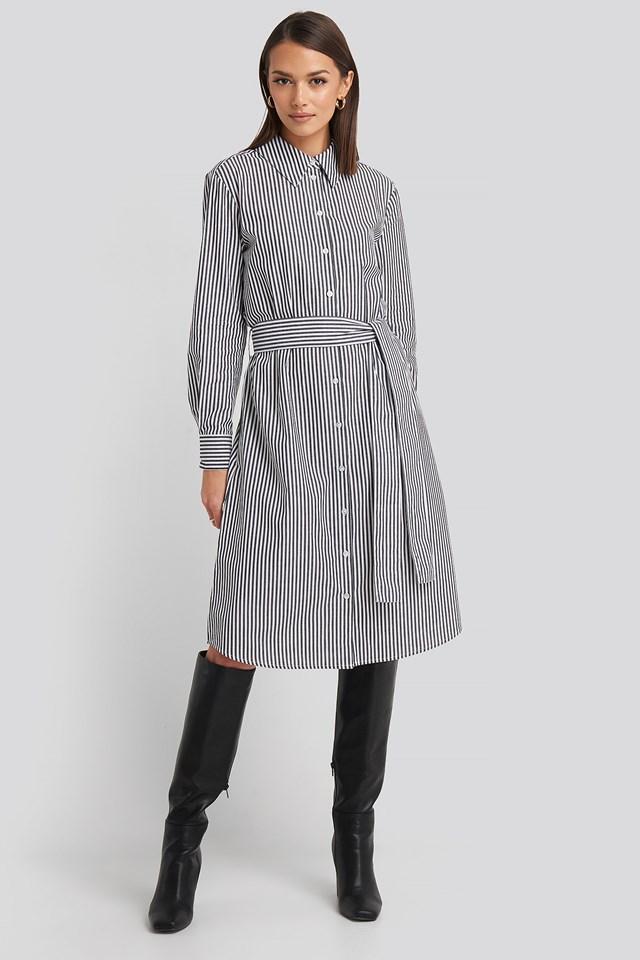 Belted Midi Shirt Dress Grey/White