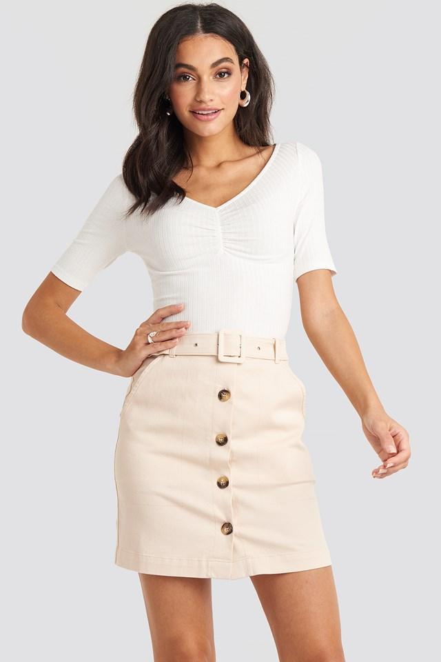Sand Belted Mini Skirt