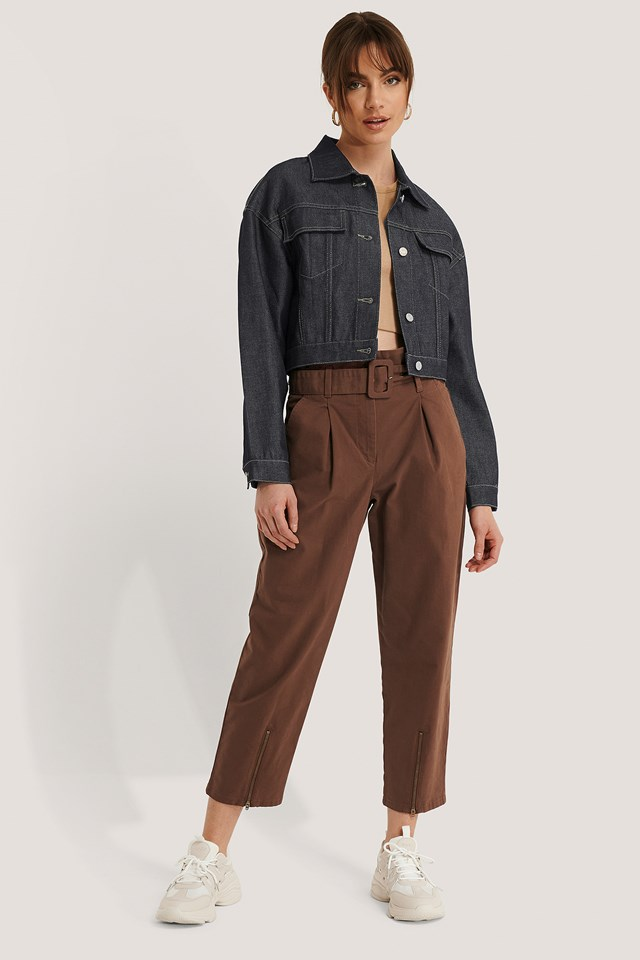 Belted Paperbag Pants Brown