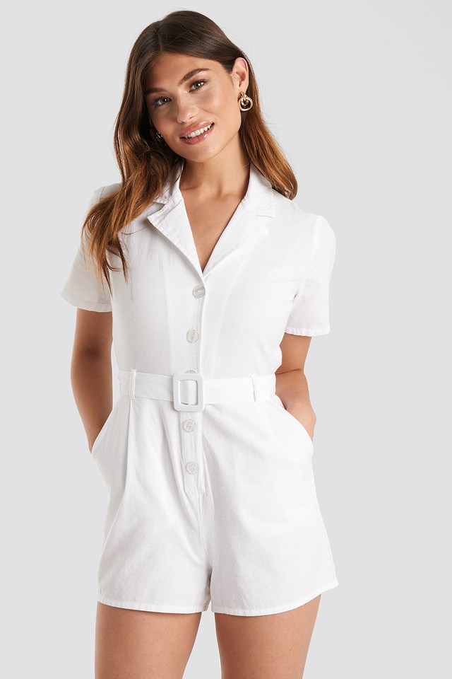 Belted Playsuit Offwhite