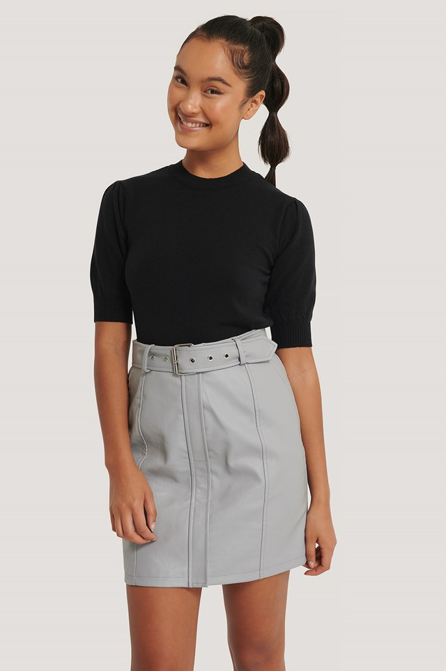 Grey Belted PU Skirt