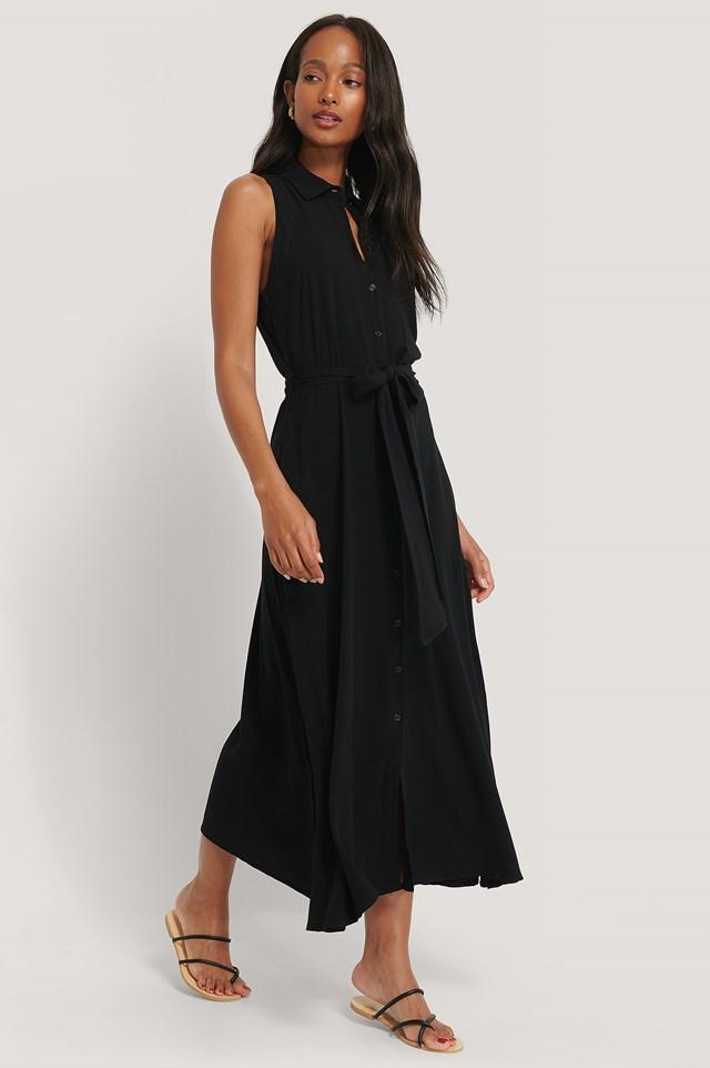 Black Sukienka Bez Rękawów
