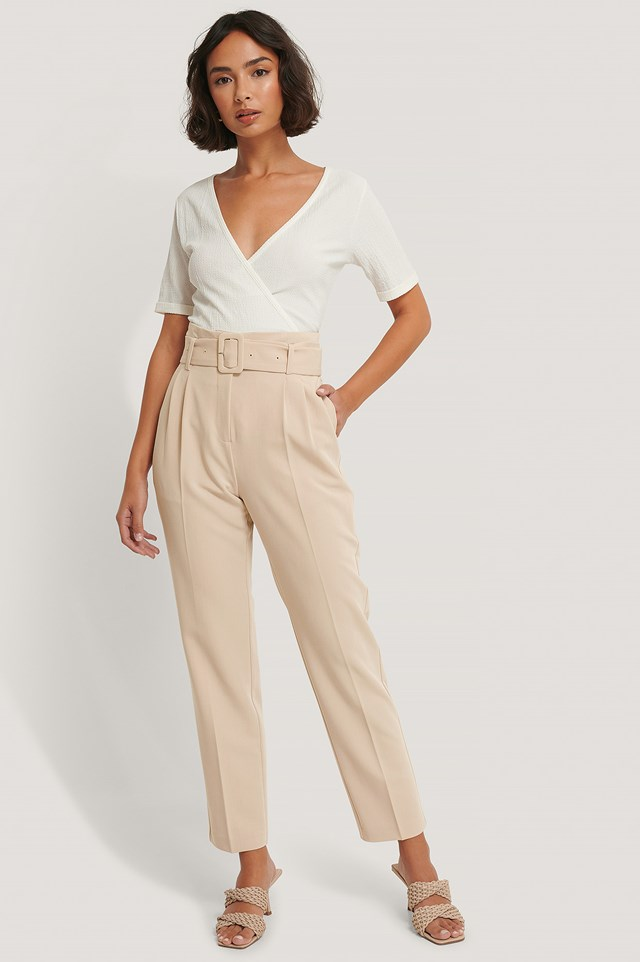 Beige Recycled Belted Suit Pants