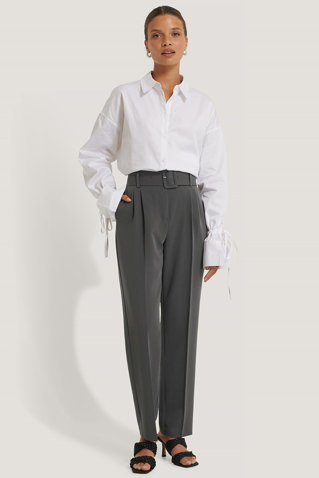 Dark Grey Recycled Belted Suit Pants
