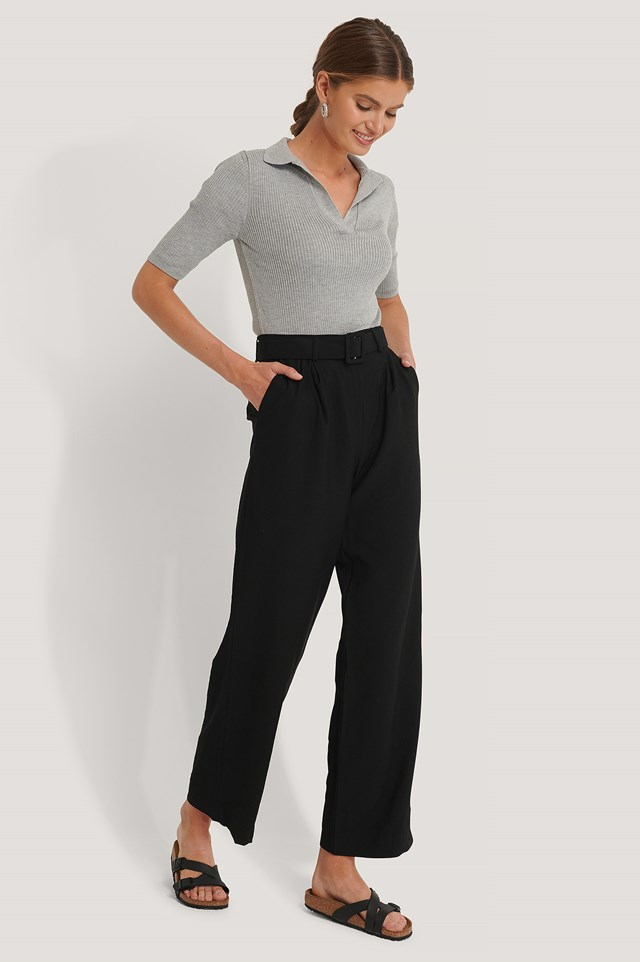 Belted Suit Pants Black