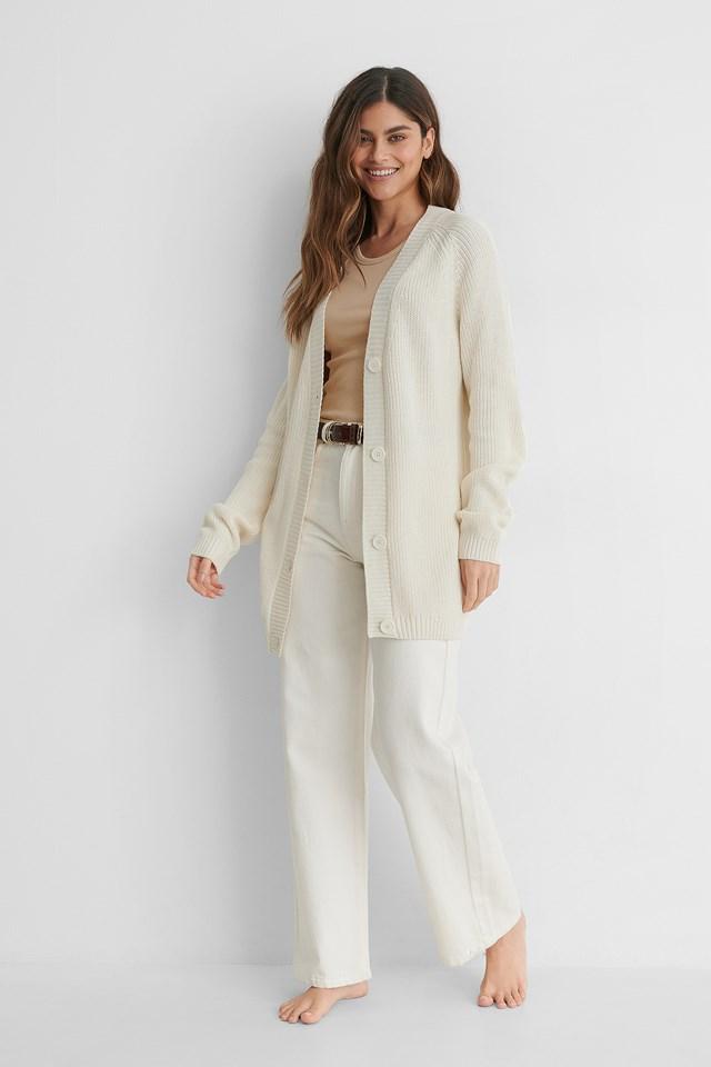 White Ekologiczny Dziergany Sweter Z Guzikami