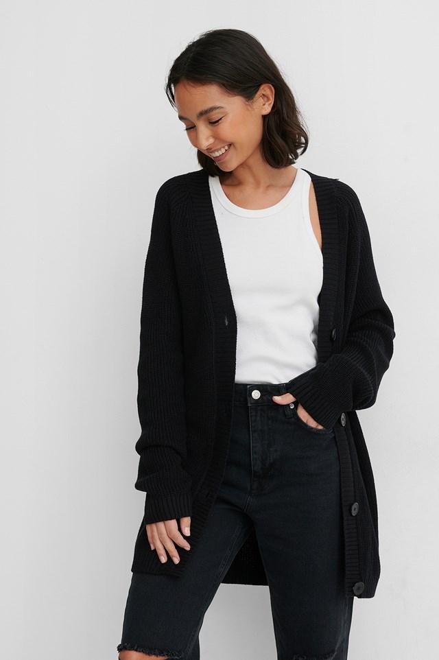 Black Ekologiczny Dziergany Sweter Z Guzikami
