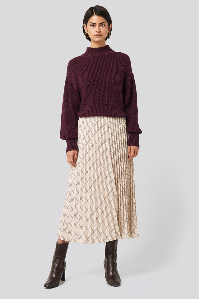 Sand Big Check Pleated Skirt