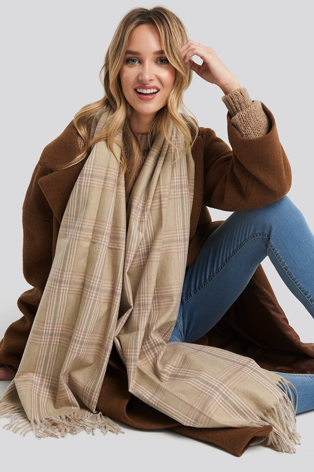 Big Checked Soft Scarf Dusty Light Beige