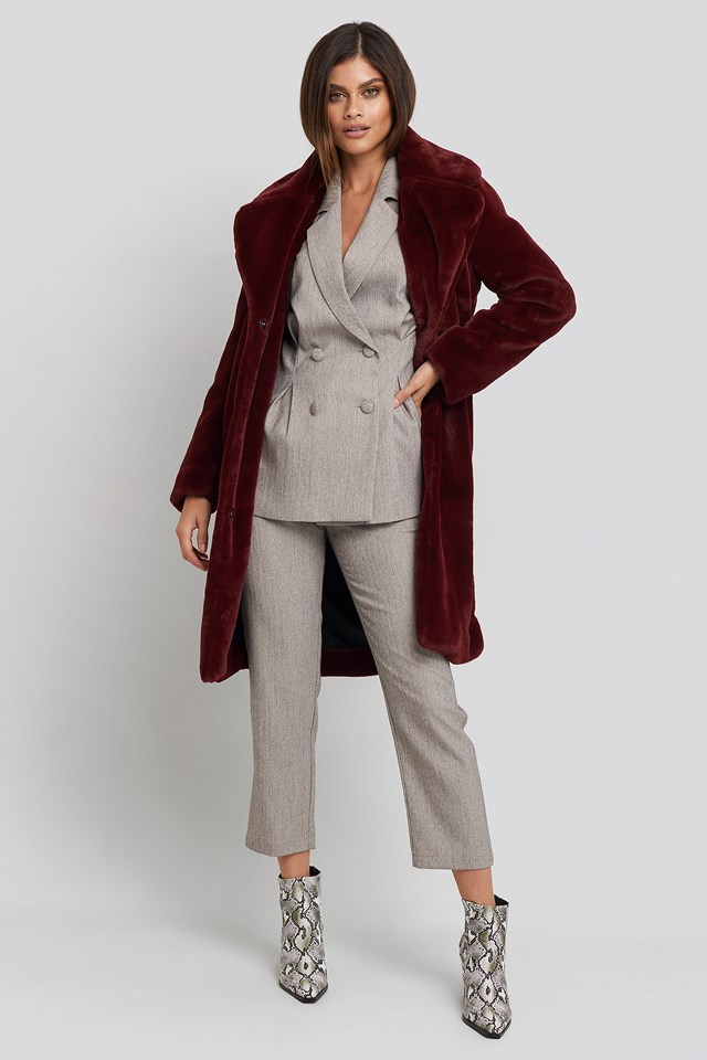 Big Collar Faux Fur Jacket Burgundy
