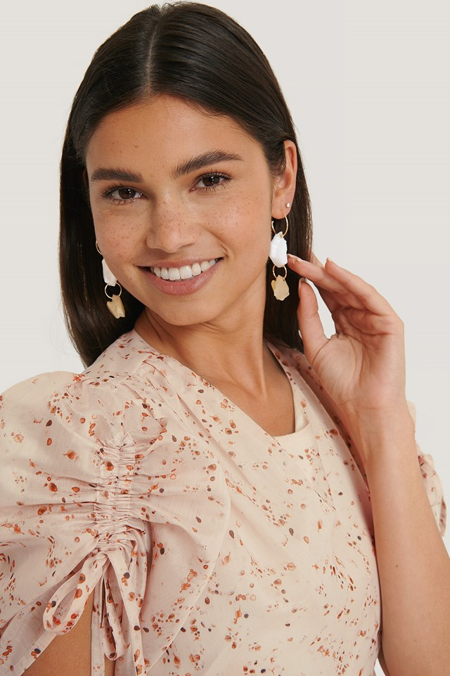 Gold Big Connected Stone Drop Earrings