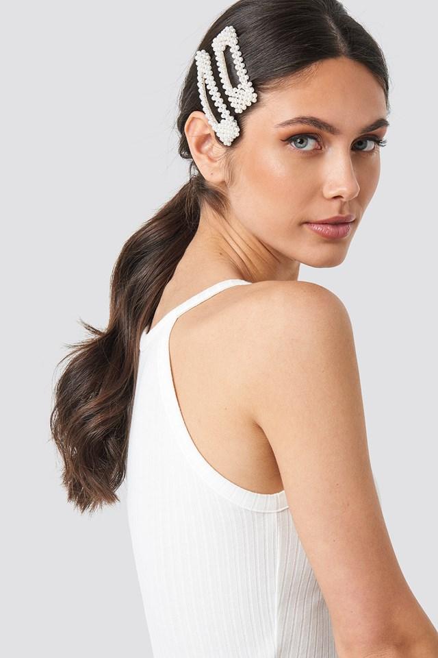 White Big Pearl Hairclips