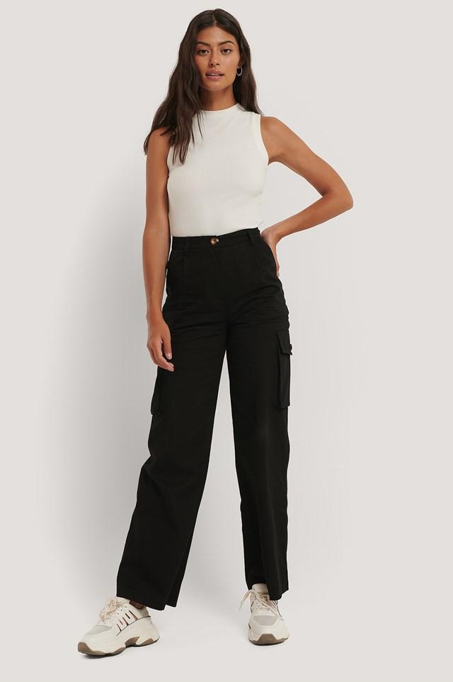 Black Big Pocket Cargo Pants
