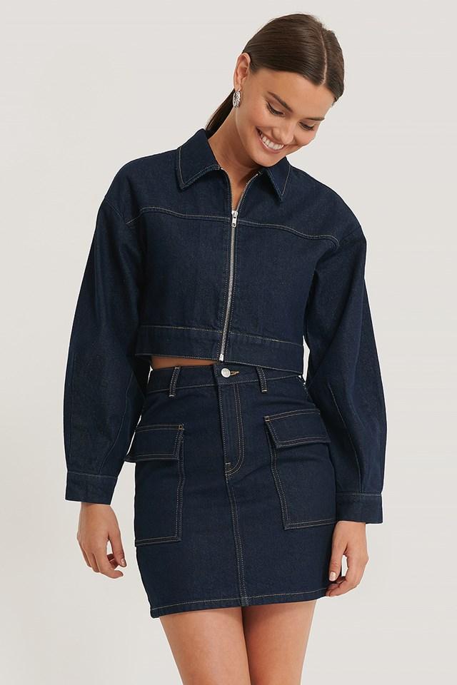 Dark Blue Big Pocket Denim Skirt