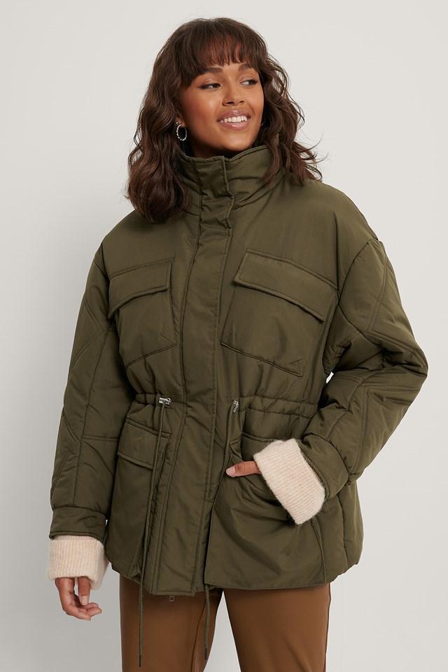 Big Pocket Drawstring Jacket Green
