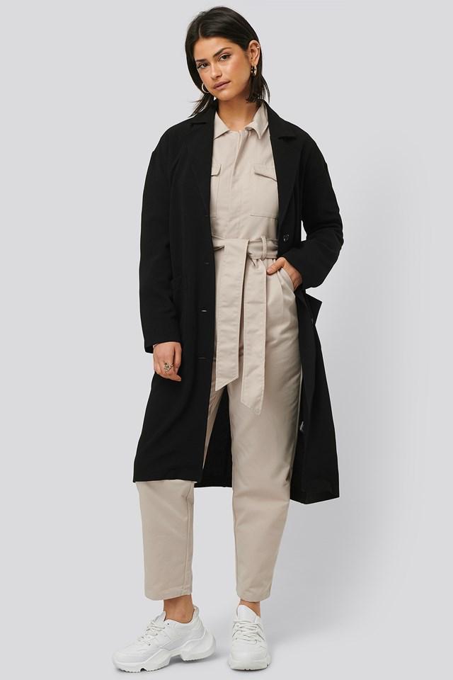 Black Big Pocket Light Coat