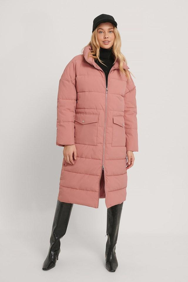 Big Pocket Padded Long Jacket Dusty Pink