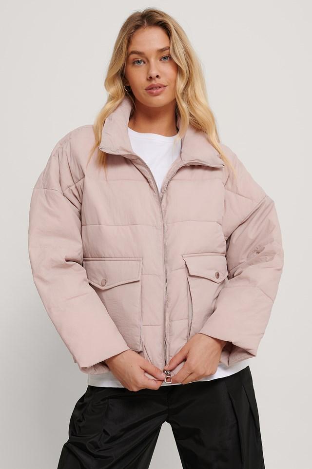 Big Pocket Padded Short Jacket Light Pink