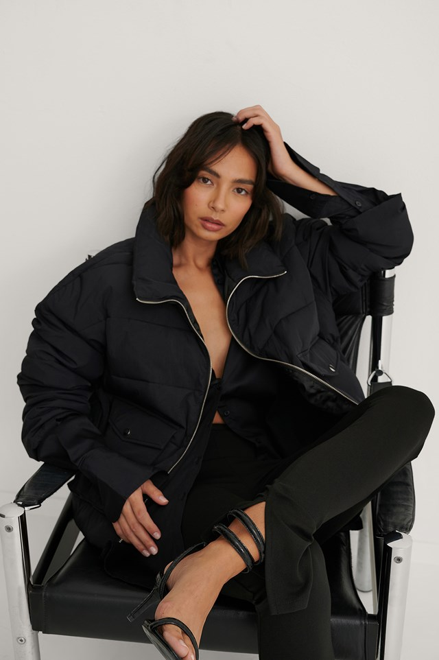 Black Big Pocket Padded Short Jacket