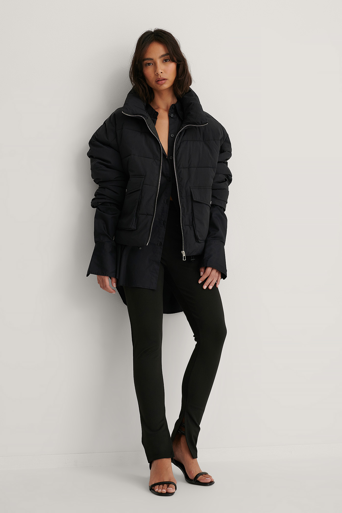 Black Big Pocket Padded Short Jacket