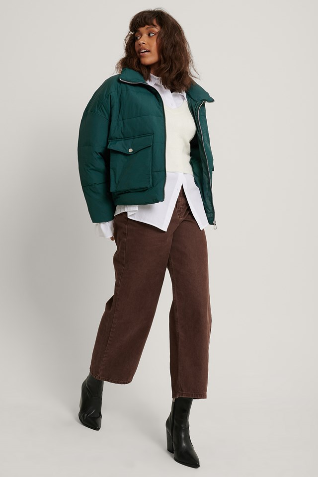 Big Pocket Padded Short Jacket Green