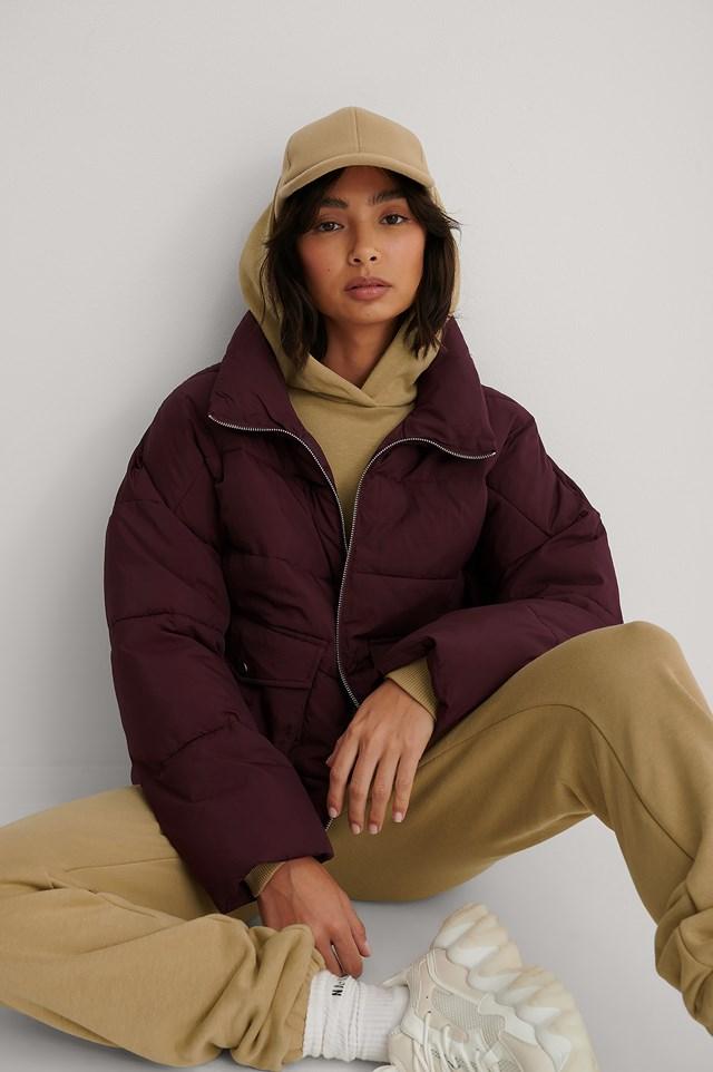 Big Pocket Padded Short Jacket Burgundy