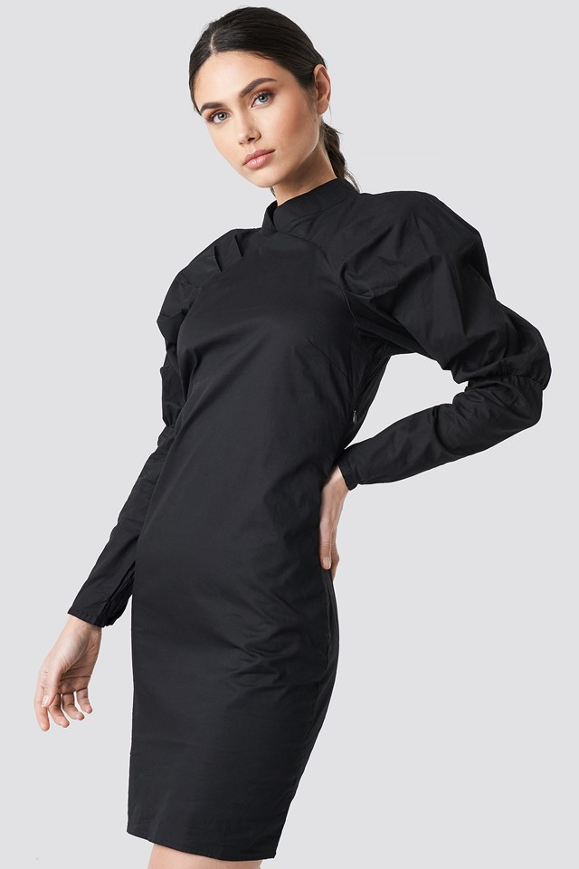 Big Puff Sleeve Dress Black