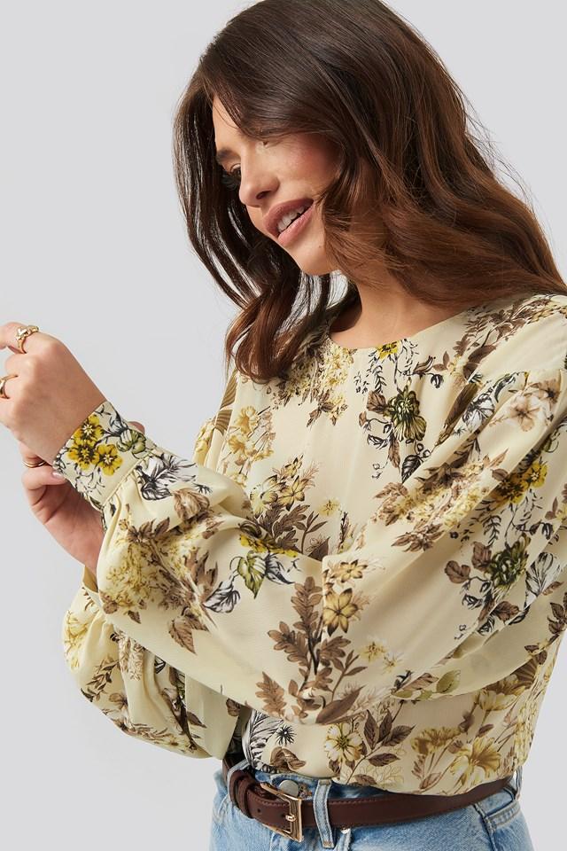 Flower Print Big Sleeve Blouse