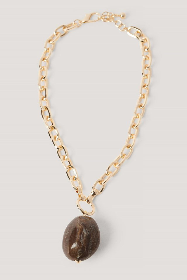 Gold Big Stone Chain Necklace