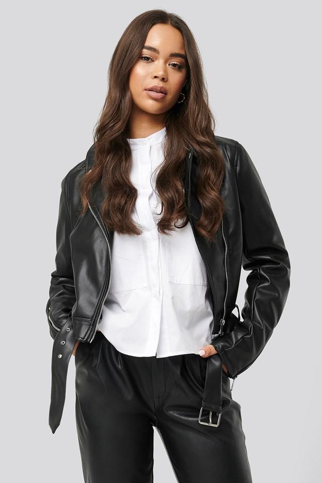 Biker PU Jacket Black