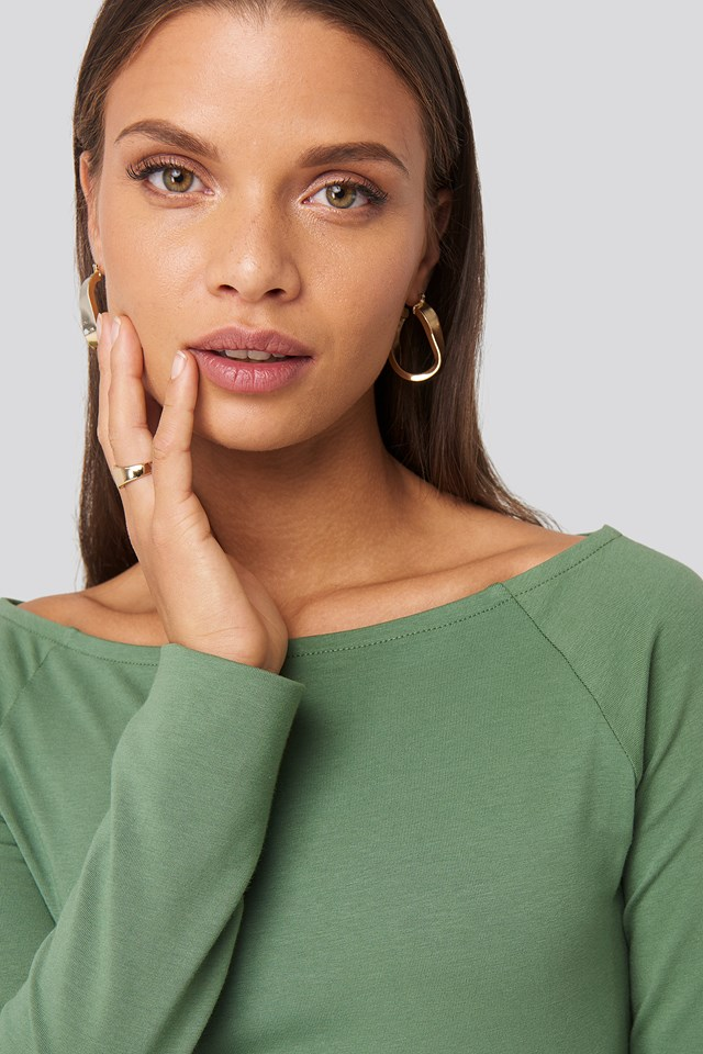 Green Boat Neck Fitted Top