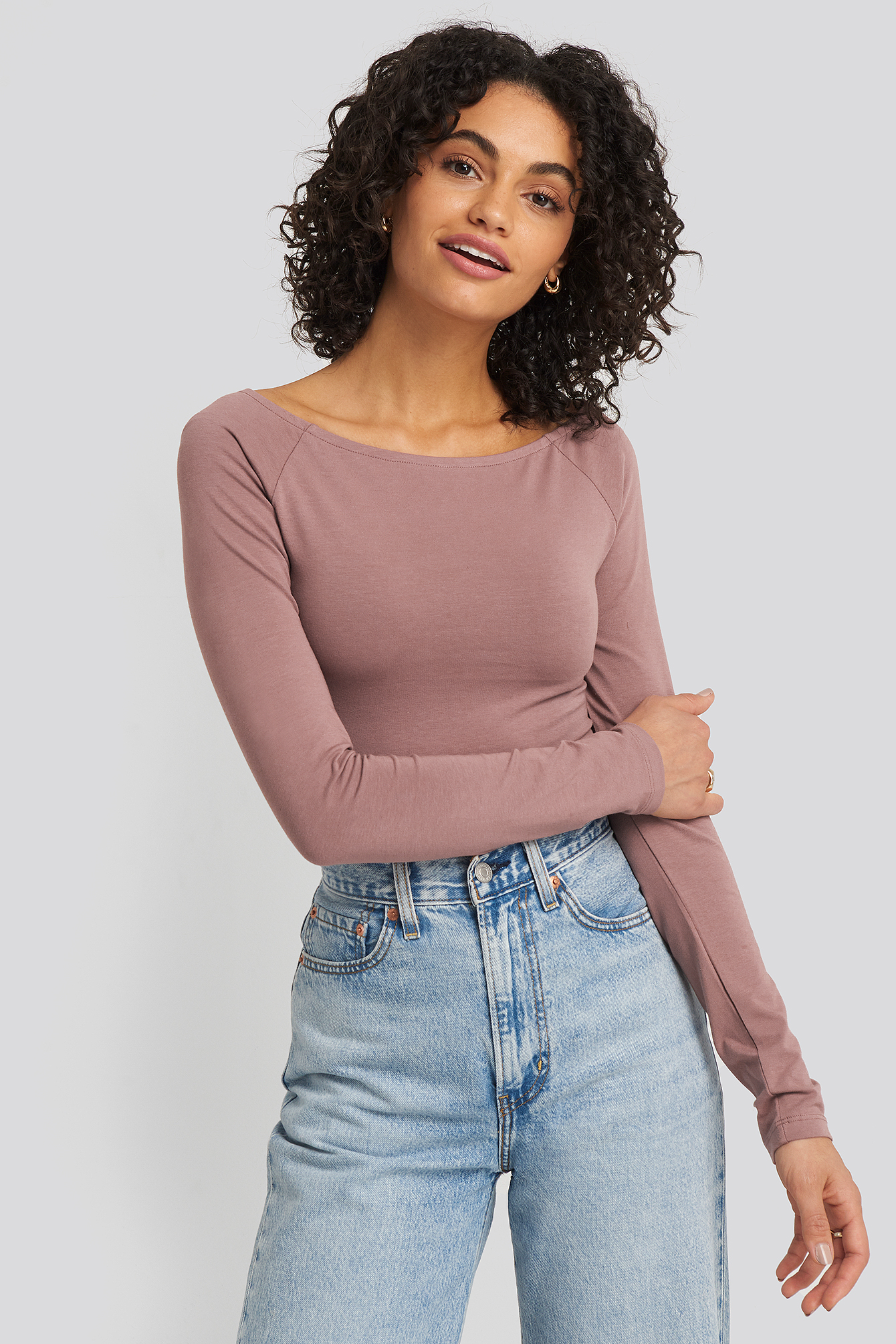 Dusty Dark Pink Boat Neck Fitted Top
